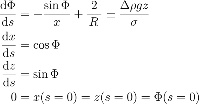Pendant Drop method differential equations