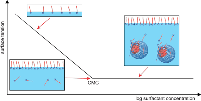 Surface tension as a function of the surfactant concentration (CMC)