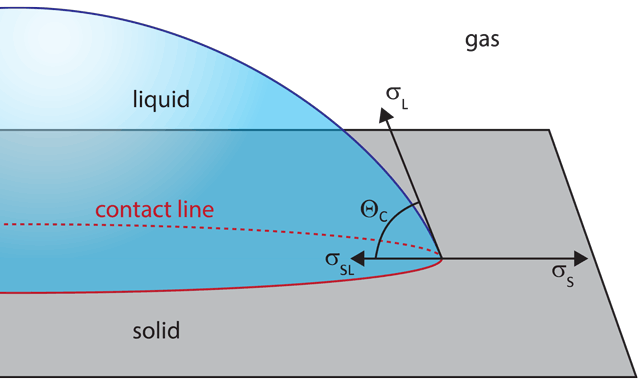 Contact angle at a solid-liquid-gas contact line